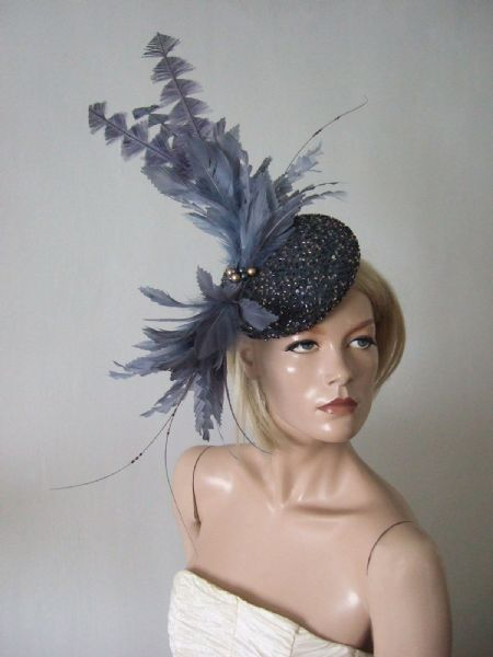 "Gunmetal Grey Gold Beaded Silk + Feather Fascinator Headpiece ""JoJo"" Cocktail Hat Ascot Headpiece"